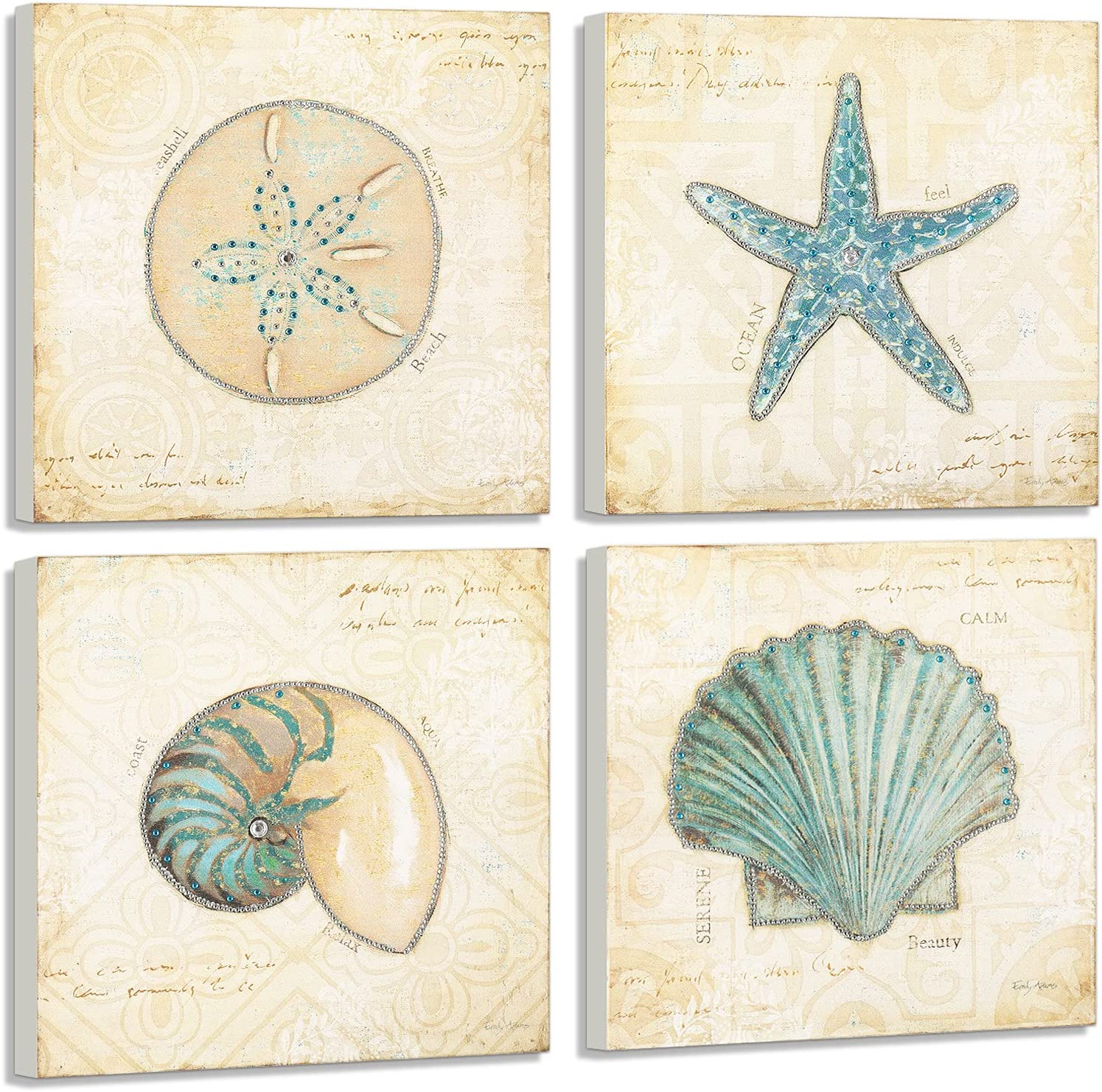 YIMEI Wooden Wall Art Seashell and Rhinestones Shells D Starfish 70% OFF Outlet Max 66% OFF