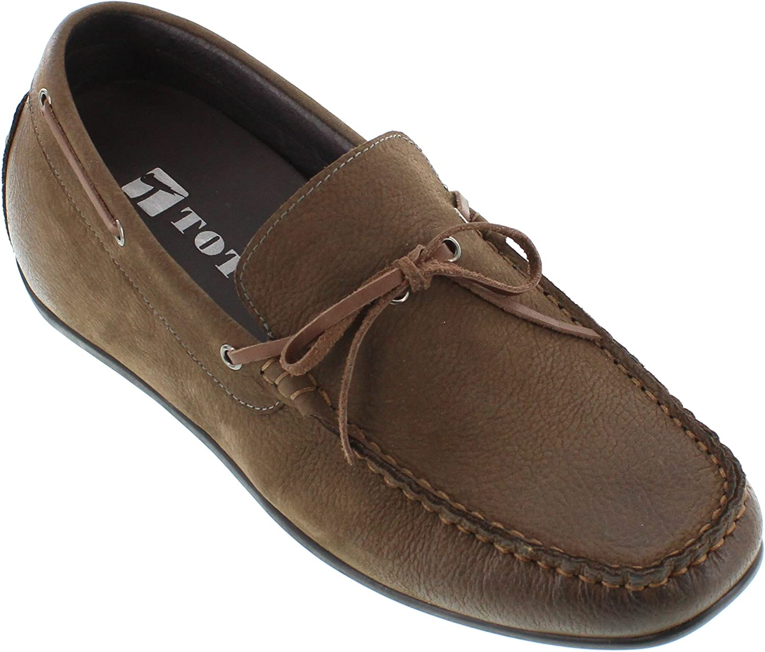 Toto Men's Invisible Height Increasing Elevator shoes - Nubuck Khaki Leather Slip-on Lightweight Casual Loafers - 2.4 Inches Taller - H32602