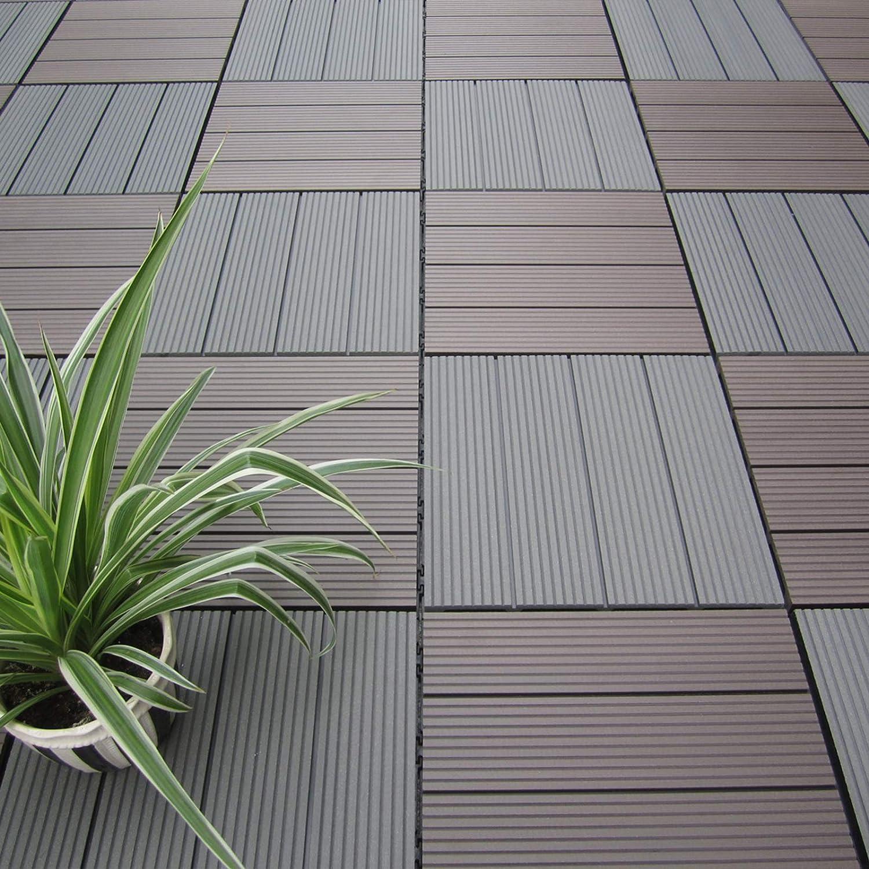 HORI® Terrassenfliesen WPC I Klick Boden Fliesen aus Kunststoff in ...