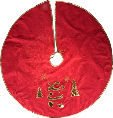 376ae2ac30c6f Clever Creations Red and White Christmas Tree and Snowman Tree Skirt Gold  Trim & Snowflakes