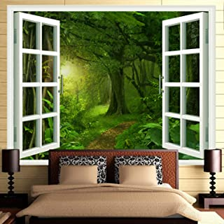 Ameyahud Rainforest Forest Tapestry Fake Windows Towards Green Forest Wall Tapestry Faux Windows Forest Tree Landscape Wall Hanging Tapestries for Home Living Room Dorm Decor