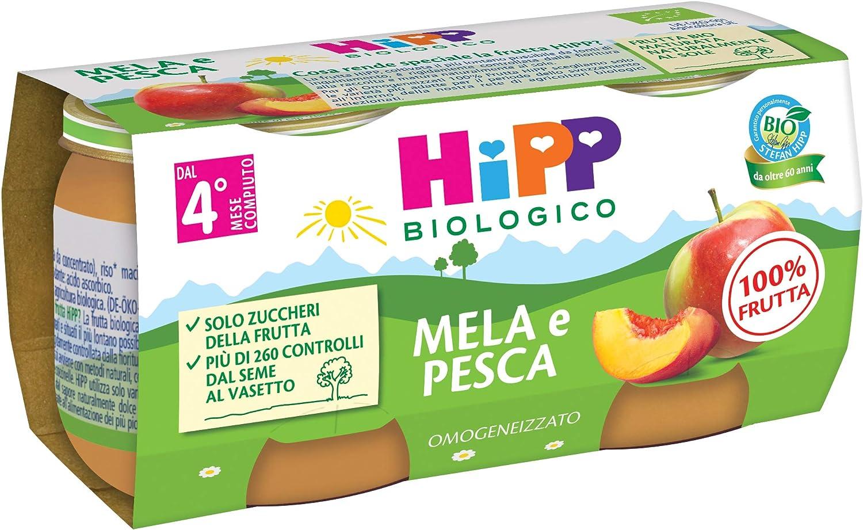 HiPP Omogeneizzato Biologico di Mela e Pesca dai 4+ Mesi, 2 x 80g