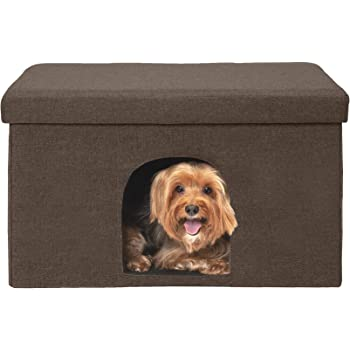 Furhaven Pet - Collapsiple Living Room Ottoman Footstool Small Pet Den & Felt Cat House Cave-Style Cubby for Cats & Small Dogs - Multiple Styles & Colors