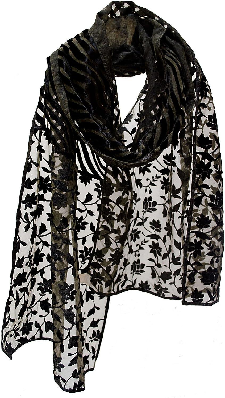 Floral Jasmine & Waves Burnout Velvet Stole Wrap Scarf Shawl Runner Black