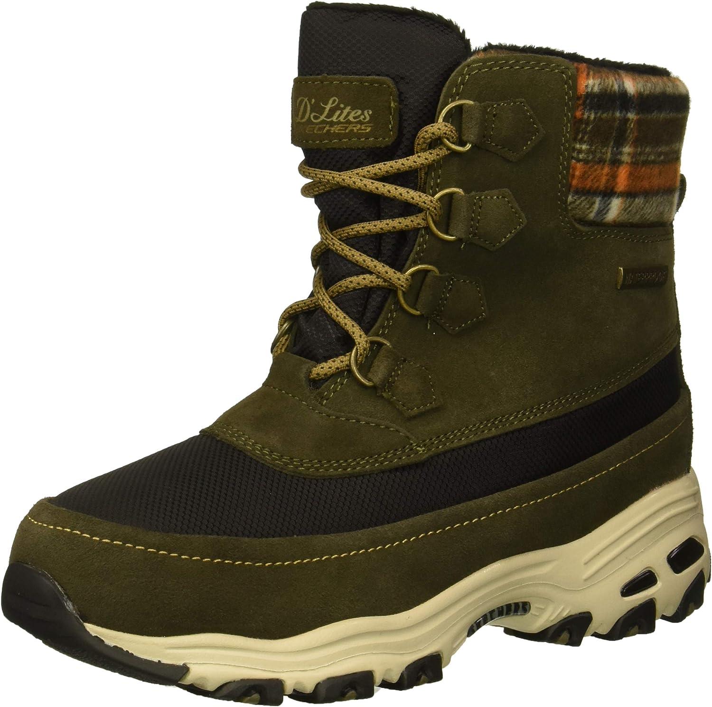 Skechers Women's D'Lites-Mid Hiker Lace Up Boot W Plaid Collar Snow