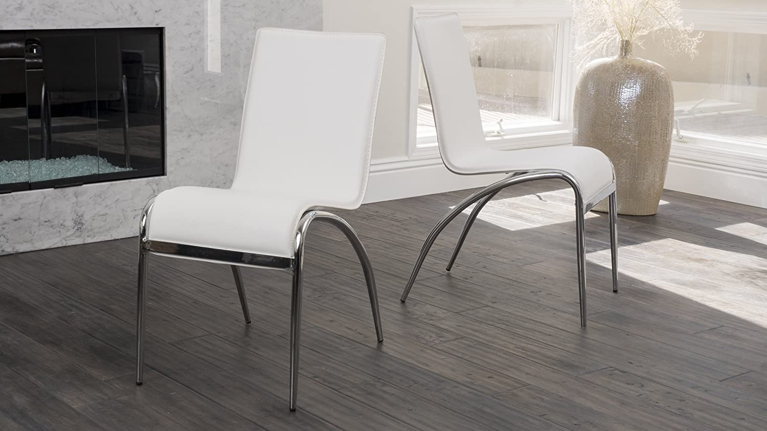Christopher Knight Home 219164 Enola Furniture  Modern Design Dining Chairs (White) (Set of 2)