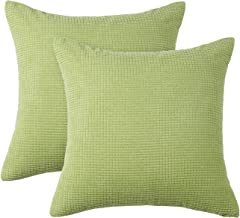 PHF Velvet Corduroy Corn Pillow Covers Cases Pack of 2 Cushion Cover Solid Couch Sofa Bed Winter Fall Decor 18 x 18 Apple Green