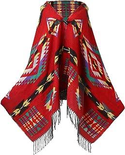 8055bcb2f3575 UTOVME Womens Wool Blend Fashion Bohemian Fringe End Poncho Cashmere Feel  Cape