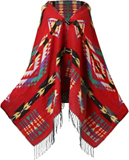 UTOVME Womens Wool Blend Fashion Bohemian Fringe End Poncho Cashmere Feel Cape