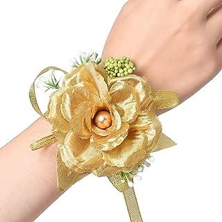 DearHouse 2Pcs Gold Rose Wrist Corsage Wristband, Girl Bridesmaid Wedding Wrist Corsage Party Prom Hand Flower Decor