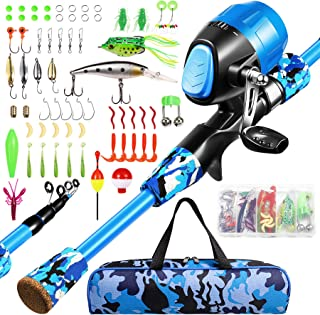 Annleor Kids Fishing Pole - Telescopic Fishing Rod and Reel Combo Kit - Fishing Gear, Fishing Lures, Carry On Bag, Fully F...