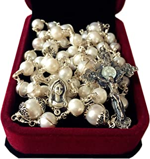 elegantmedical Handmade Wire Wraped Bali 925 Sterling Silver AAA+ 8-9mm Real Pearl Beads Catholic