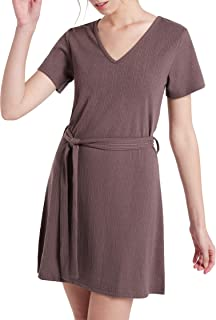 The Elements Women's Cap Sleeve V Neck Ribbed Shift Dress with Tie-Front