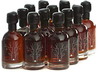 Award Winning Escuminac Unblended Maple Syrup 12 x 50ml Stocking Stuffers - Canadian Grade A - Dark Robust - Pure Organic Single Forest - Late Harvest 1.7 fl oz Sample Size - Weddings and Holidays