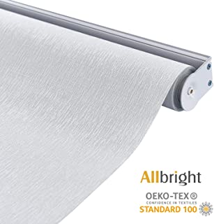 ALLBRIGHT 100% Blackout Roller Shades for Windows UV Protection Roller Blind Striped Jacquard (White, 27''W x 72''H)