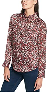 TOMMY HILFIGER Women's Ruffled-Collar Blouse Black Multi Large