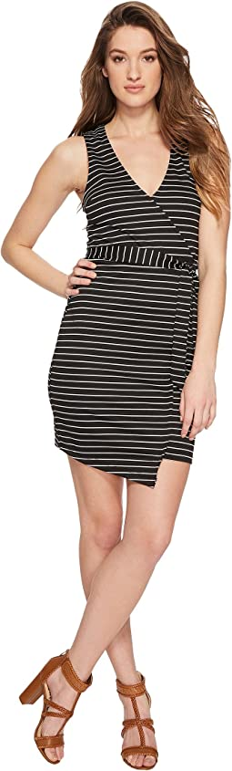 Toni Stripe Asymmetrical Wrap Dress