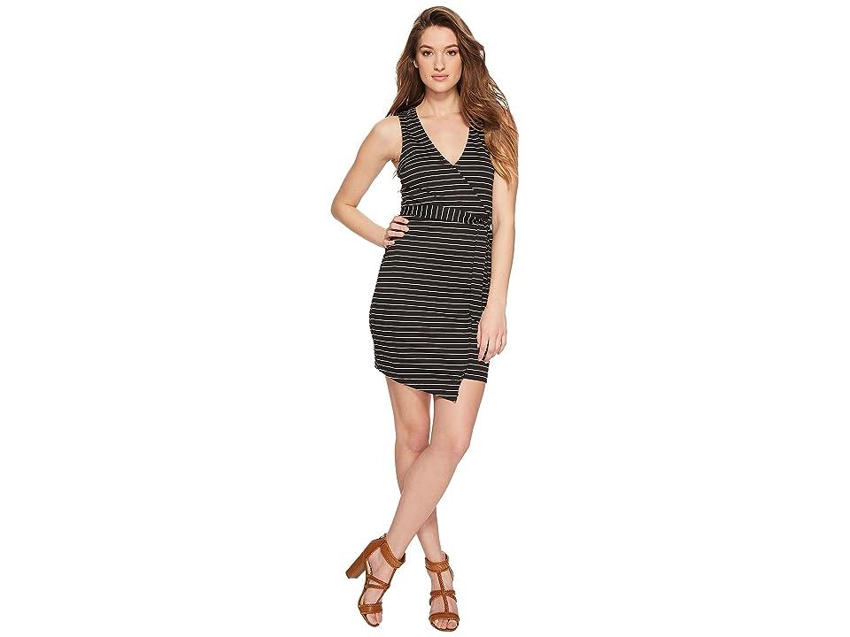 Jack by BB Dakota Toni Stripe Asymmetrical Wrap Dress (Black) Women