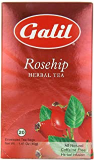 Galil Tea, Rosehip - 20 Count Boxes (Pack Of 6) - Herbal Tea - Naturally Caffeine Free - Certified Kosher