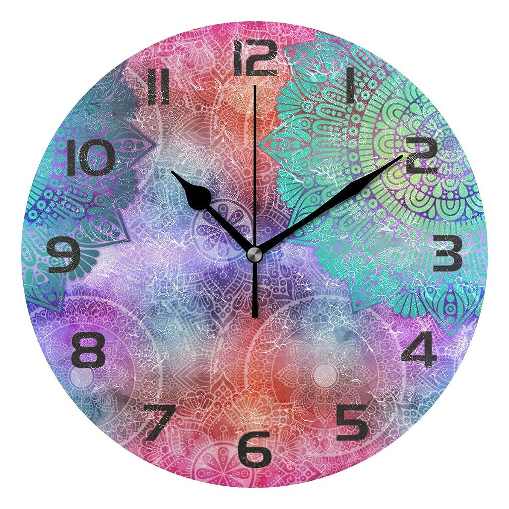 しかしながらたくさん置き場UOOYA 掛け時計 カラフルな マンダラ 曼荼羅 Mandala サイレント おしゃれ 円形 壁掛け時計 静音 置き時計 ホーム ベッドルーム キッチン 事務所 学校 飾り付け プレゼント用