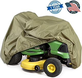 Universal Lawn Tractor Mower Cover - Armor Shield Waterproof Marine Grade Canvas, Weather Resistant with Mildew and Dust Protection - Indoor and Outdoor Protective Storage - Pyle PCVLTR11 (Green)