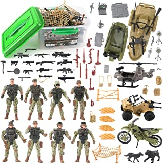 Military Army Special Forces Action Figures Soldiers Vehicles & Accessories - Military Toy Combat Mega Playset in Storage ...