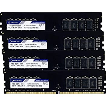 Timetec Extreme Performance Hynix CJR IC 64GB KIT(4x16GB) DDR4 3600MHz PC4-28800 CL18 1.35V Unbuffered Non-ECC for Gaming and High-Performance Compatible with AMD and Intel Desktop (64GB KIT(4x16GB))