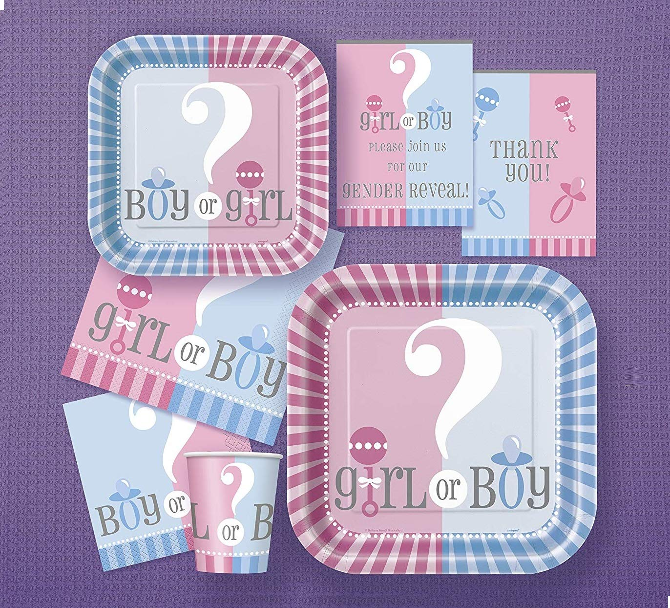 Baby Shower Essential Party Pack from Gender Reveal Range 8 Guest