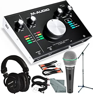 M-Audio M-Track 2X2M USB Audio Interface with MIDI I/O and Platinum Bundle w/Dynamic Mic + Mixing Headphones + Mic Stand + Cables + More