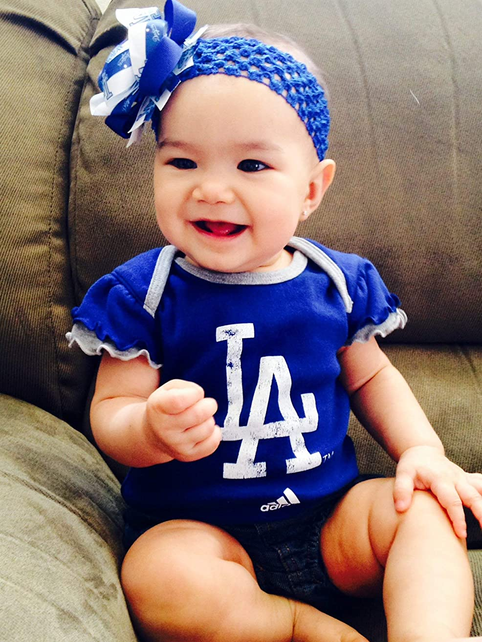 LA Dodgers Girl Boutique Bow Crocheted Headband