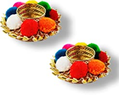JH Gallery Handcrafted Pom-Pom Tealight Candle Holder Gift, Multicolor (4 * 8 cm Pack of 2)