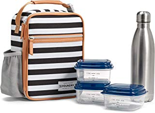 Fit & Fresh Insulated Lunch Bag, includes Matching Containers and Water Bottle, Thayer, Black & White Stripe