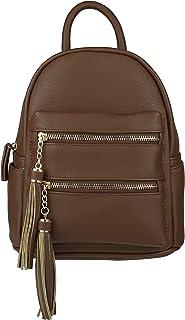 B BRENTANO Vegan Multi-Zipper Top Handle Mini Backpack with Tassel Accents
