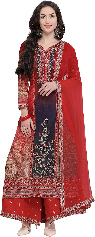 Rajnandini Women's Pure Muslin SemiStitched Embroidered Salwar Suit(JOPLMFM110_Red_Free Size)