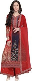 Rajnandini Women's Pure Muslin Semi-Stitched Embroidered Salwar Suit With Stitched Plazzo(MFM110_Red_Free Size)
