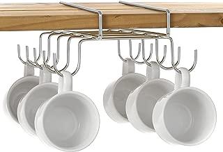 MyGift 10 Hook Under-The-Shelf Mug Rack, Metal Espresso Cup Storage Holder & Drying Rack, Silver