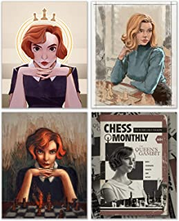 The Queens Gambit Art Prints- Set of 4 (8 inches x 10 inches) Netflix TV Series - Anya Taylor Joy as Beth Harmon