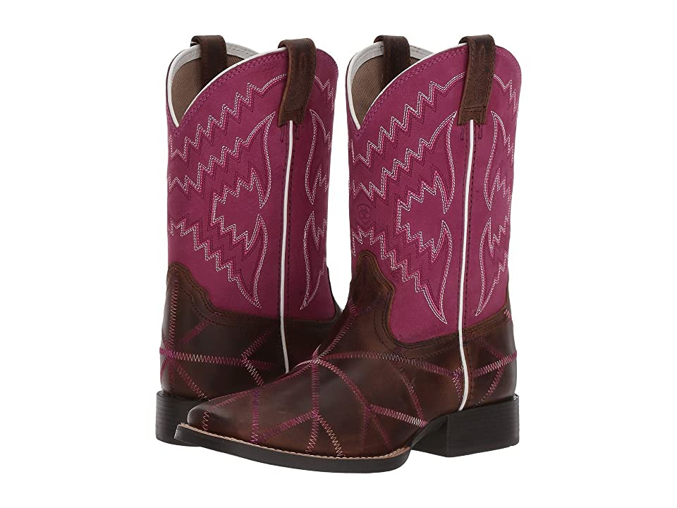 Ariat Kids Twisted Tycoon (Toddler/Little Kid/Big Kid) (Distressed Brown/Plum Pink) Cowboy Boots