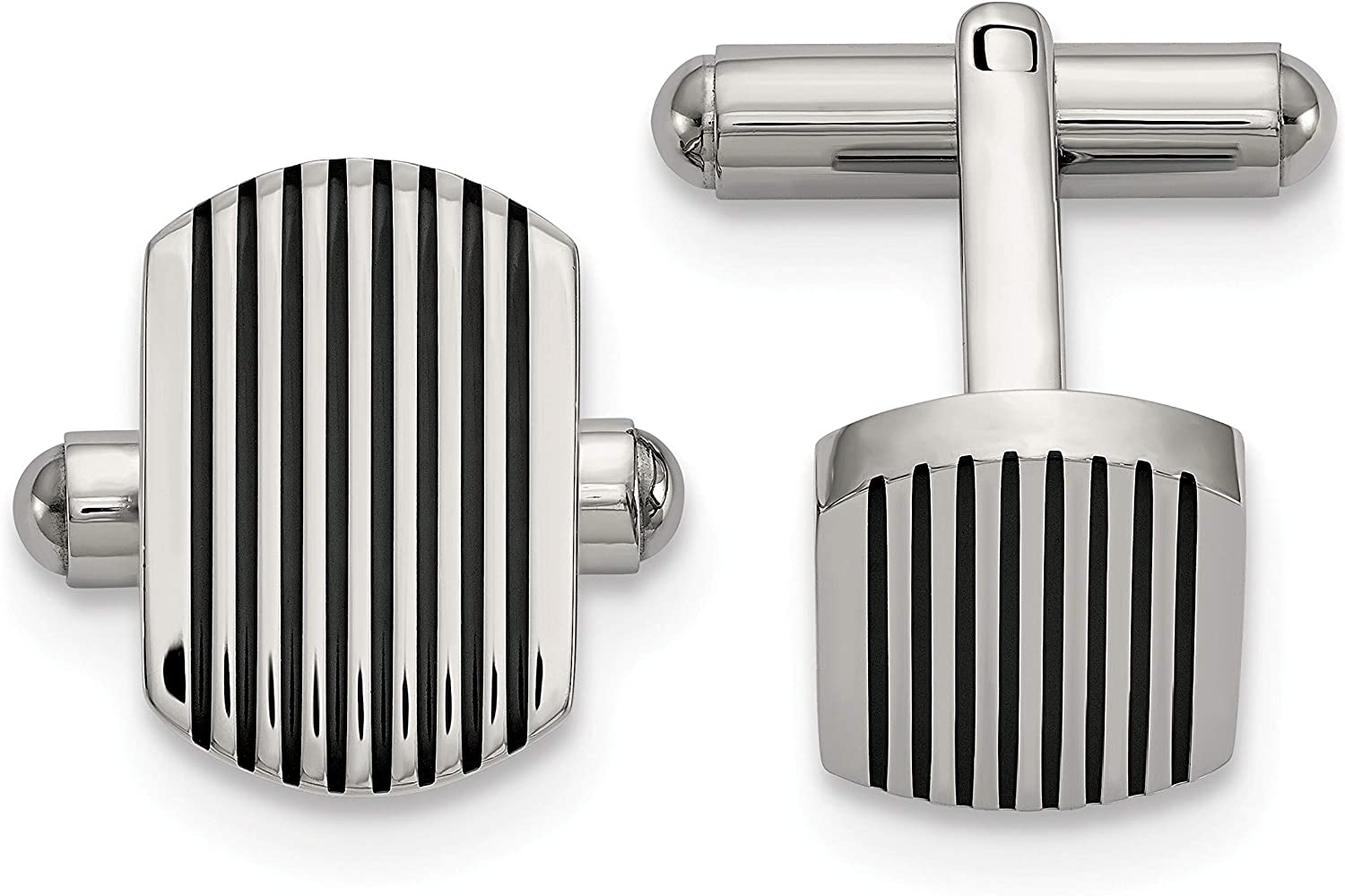 Stainless Steel Polished Black IP-Plated Striped Cuff Links Men's