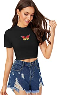 SheIn Women's Casual Short Sleeve Butterfly Print Slim Fit Summer Crop Tee Tops Shirt