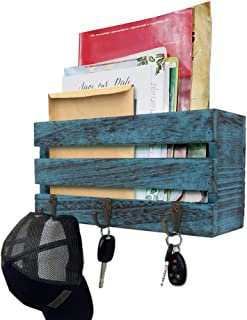 Rustic Wall Mounted Mail Sorter with 3 Key Hooks ~ Coat Hanger, Purse Hanger, Towel Hook ~ Easy Mount for Entryway, Bathro...