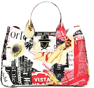 Belli Echt Leder Handtasche italienische Damen Ledertasche Umhängetasche Henkeltasche in weiß schwarz bunt - 36x25x18 cm (...