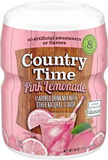 Country Time Pink Lemonade Drink Mix, Makes 8 Quarts (19 oz Canister,Pack of 6)