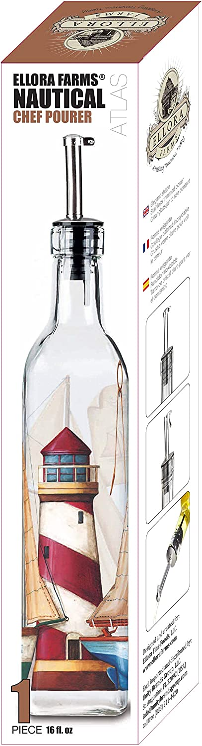 Ellora Farms pained lighthouse Safety and trust chef glass National products bottl cruet pourer
