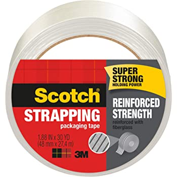 """Three rolls 1//2/"""" x 60 yards filament reinforced strapping tape 3 ct MADE IN USA"""