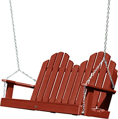 highwood AD-SW1CW52-RED Classic Westport Porch Swing, 4 Feet, 4', Rustic Red