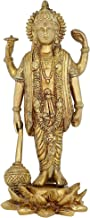 Hinduism Lord Vishnu Standing Religious Brass Statue for Puja Mandir 9 inch -1.3 kg