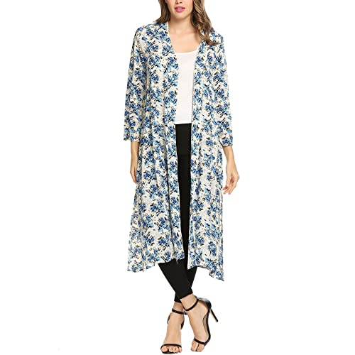 6bd85d2ae93 Meaneor Women Boho Floral Sheer Chiffon Kimono Cardigan Long Loose Cover Ups