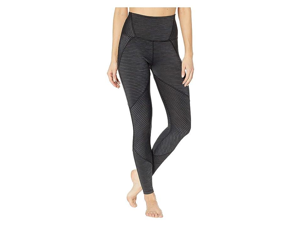 Beyond Yoga True To Stripe High-Waisted Midi Leggings (Black Heather Surf Stripe) Women