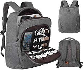 Laptop Electronics Organizer, Jelly Comb Laptop Accessories Organizer Electronic Travel Laptop Backpack 15.6'' Lightweight Computer Bag for MacBook, Laptop Charger, Cables, Power Bank and More-Gray